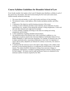 Course Syllabus Guidelines for Brandeis School of Law
