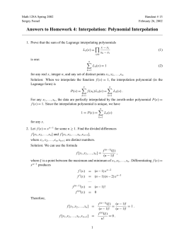 Answers to Homework 4: Interpolation: Polynomial Interpolation