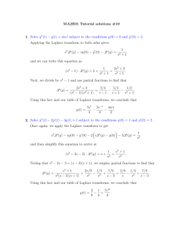 MA2E01 Tutorial solutions #10 1. Solve y (t)