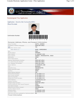 Sample DS-160 Form - US visa application form