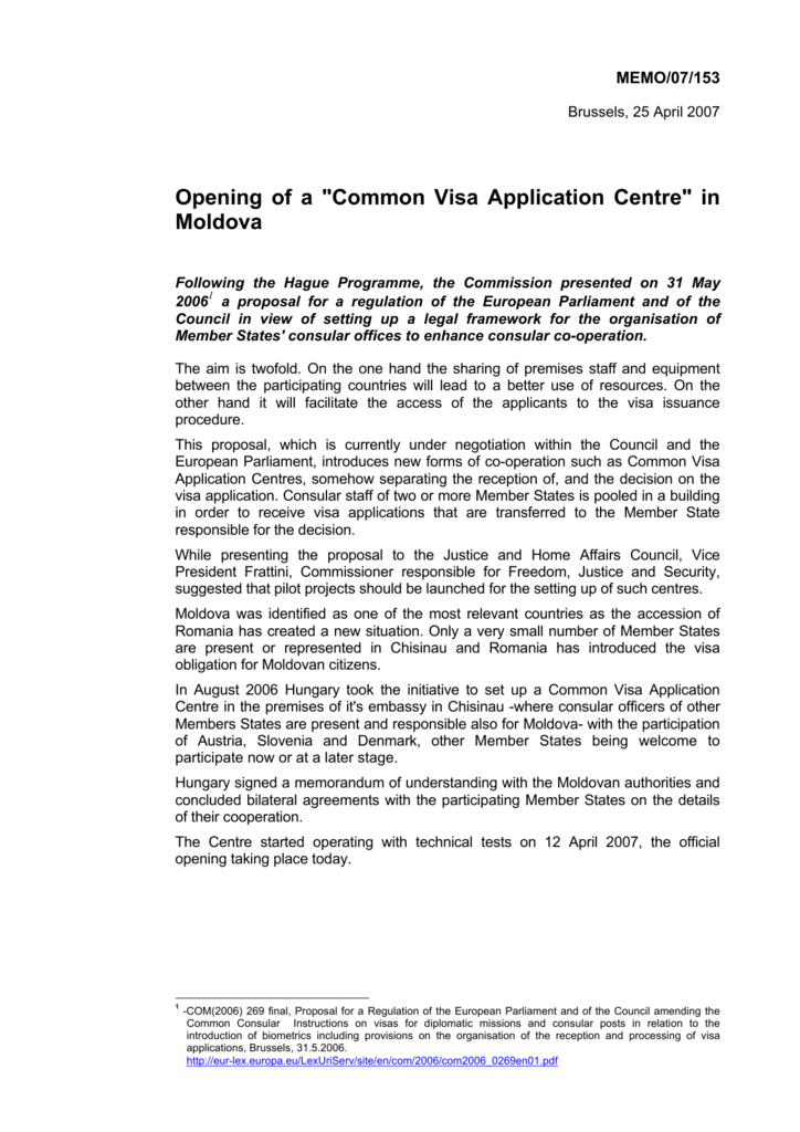 Opening Of A Common Visa Application Centre In Moldova
