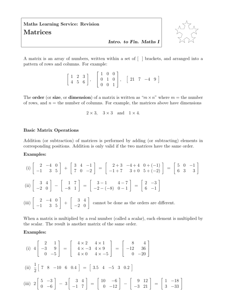 Matrix addition and multiplication worksheet