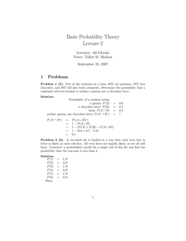 Basic Probability Theory Lecture 2