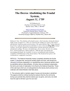 The Decree Abolishing the Feudal System, August 11, 1789