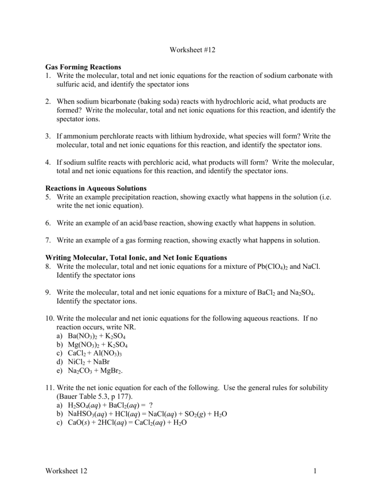 worksheet Reactions In Aqueous Solutions Worksheet worksheet 12cgt