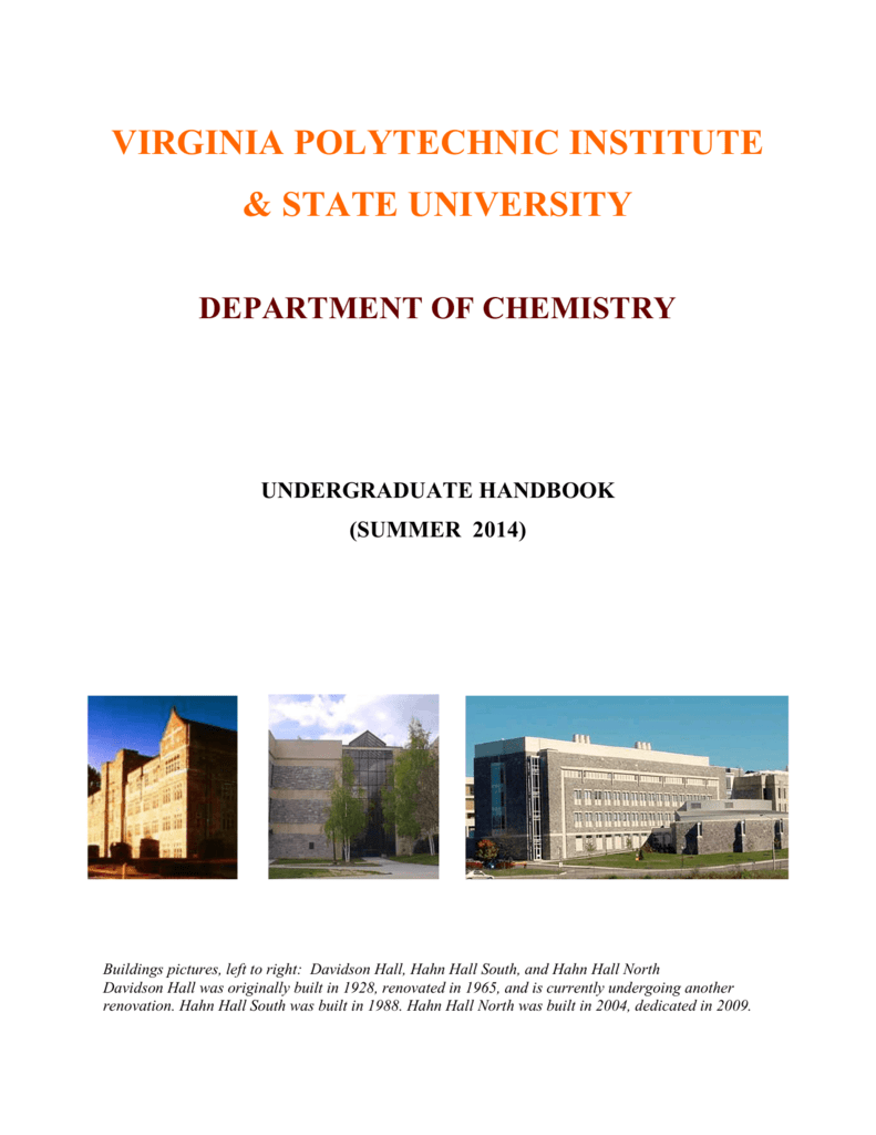 Fall 2014 Chem Handbook Chemistry Virginia Tech