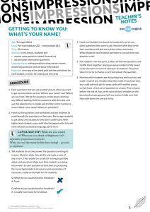 getting to know you: what's your name? teacher's