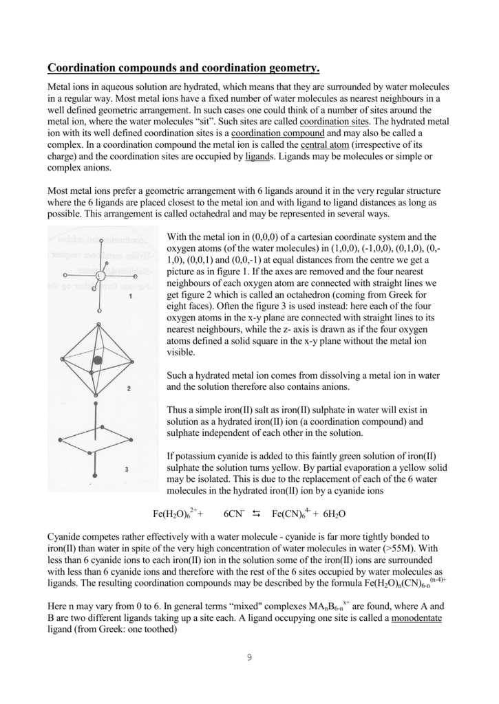 P 9 11 Coordination Compounds And Coordination Geometry