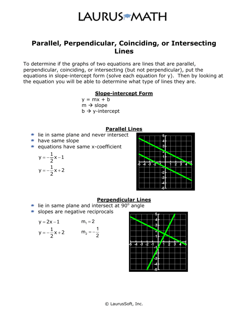 Parallel perpendicular coinciding or intersecting lines falaconquin