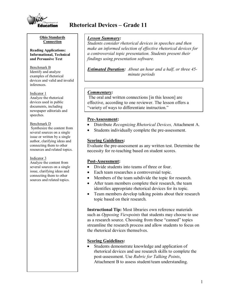 Rhetorical Devices Grade 11 – Rhetorical Devices Worksheet