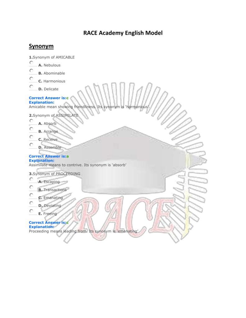 RACE Academy English Model Synonym