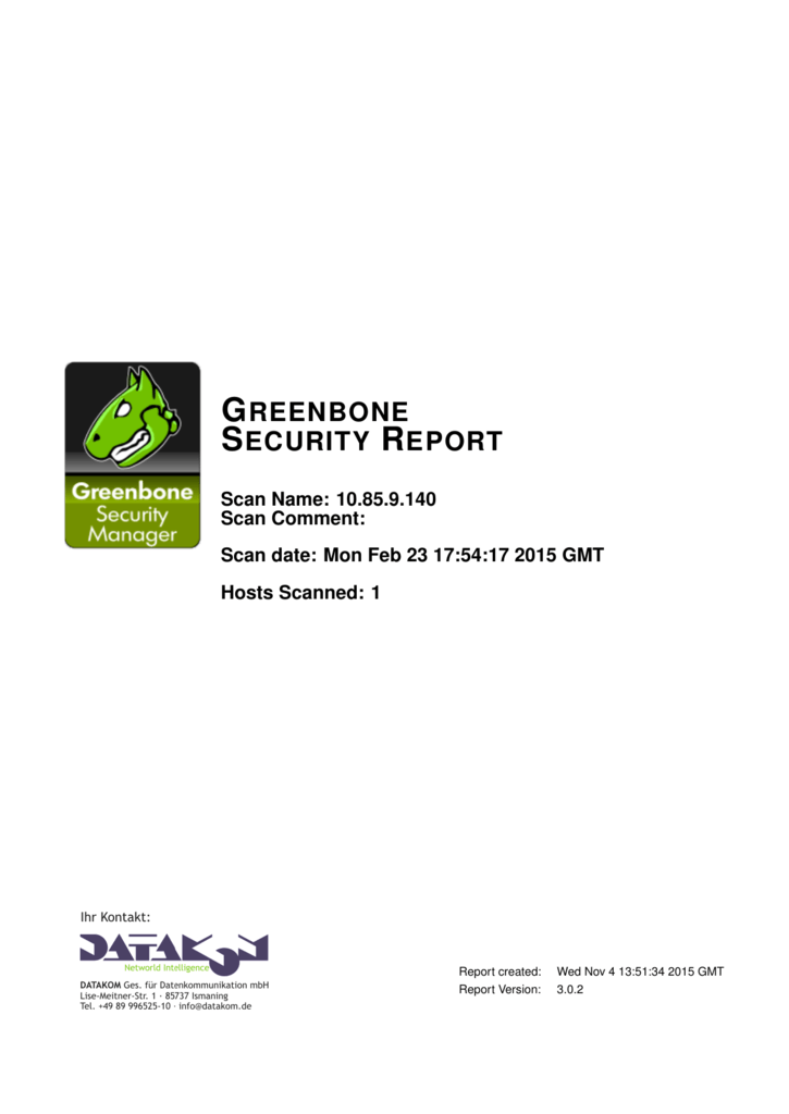 greenbone security report