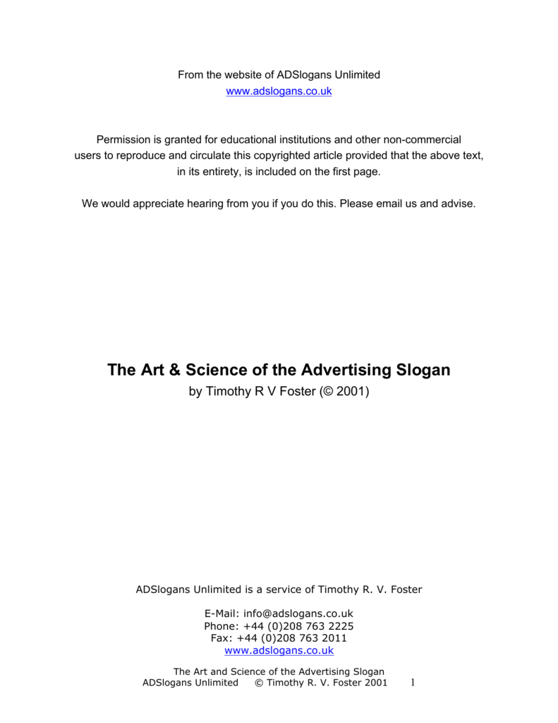The Art & Science of the Advertising Slogan