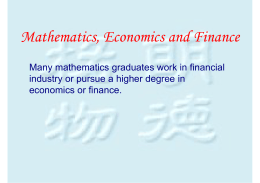 Mathematics, Economics and Finance