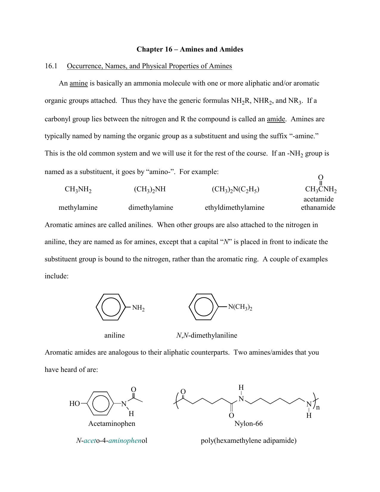 Chapter 16 – Amines and Amides