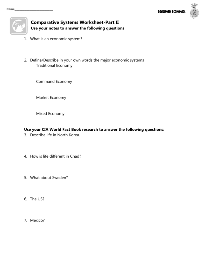 Worksheet 2 2 1 economic systems answers