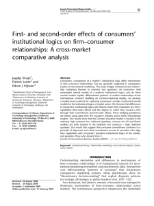 First- and second-order effects of consumers' institutional logics on