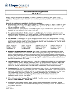 Resident Assistant Application 2013-2014
