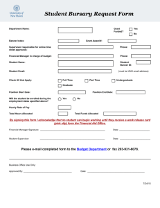 Student Bursary Request Form