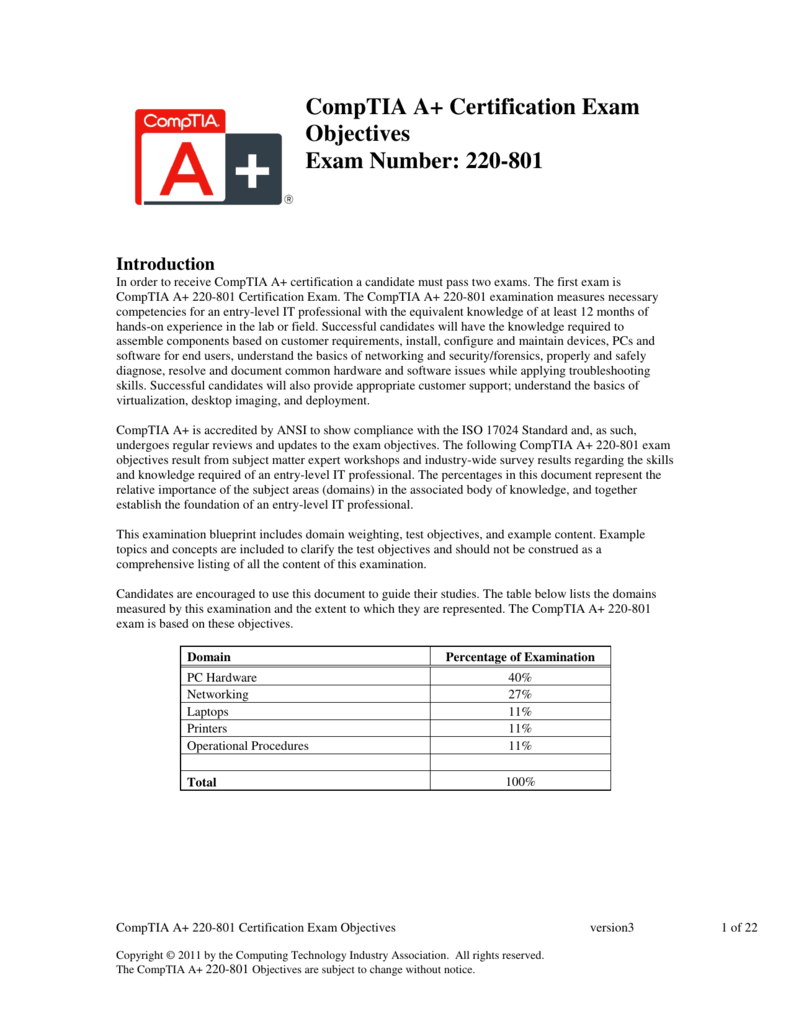 CompTIA A+ Certification Exam Objectives Exam Number: 220-801