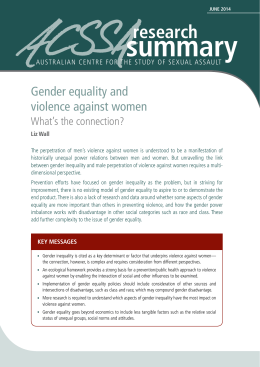 Gender equality and violence against women