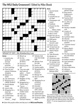 The WSJ Daily Crossword |Edited by Mike Shenk