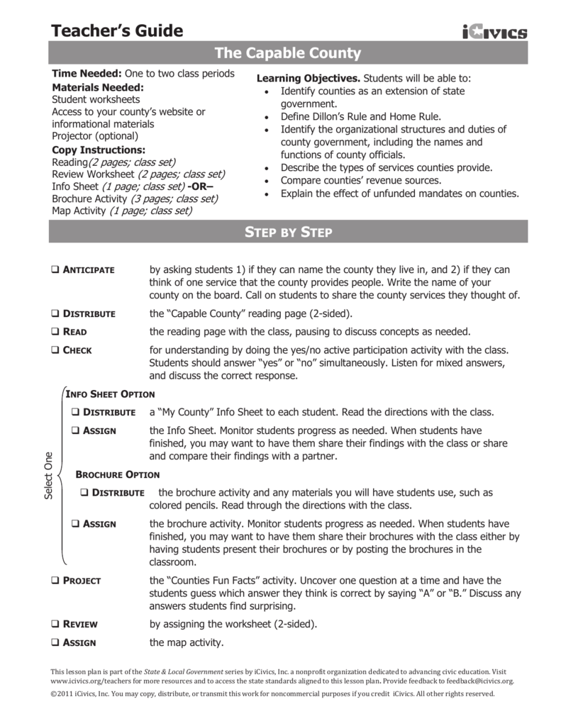 The Capable County Reading / Worksheet