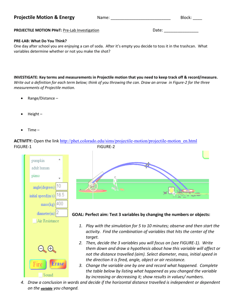 Projectile Motion Energy