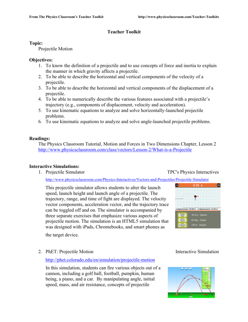 28 Projectile Motion Worksheet Answers The Physics ...