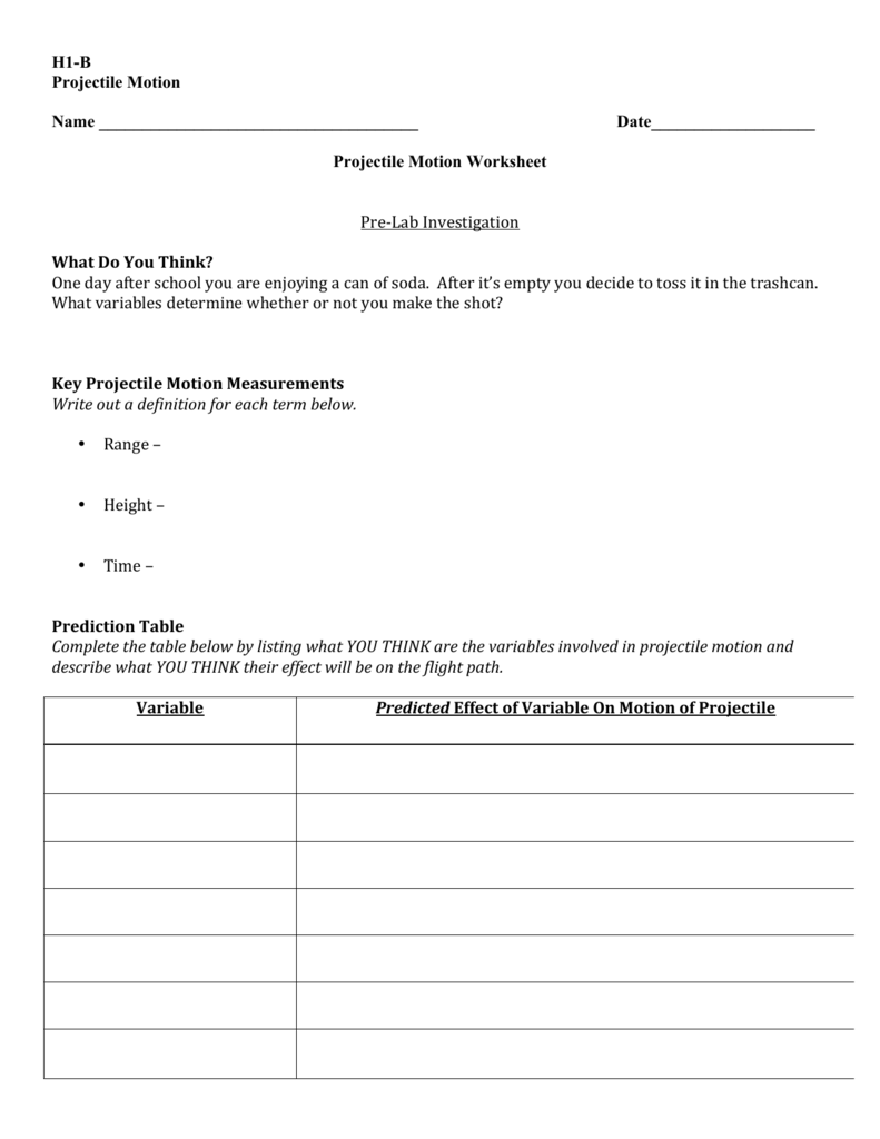 Date Projectile Motion Worksheet – Projectile Motion Worksheet