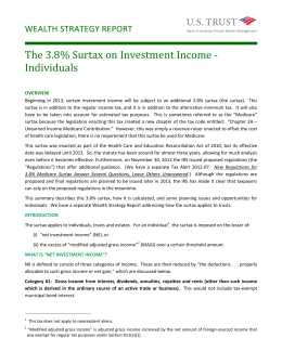 The 3.8% Surtax on Investment Income - Individuals