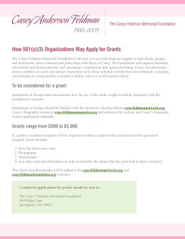 How 501(c)(3) Organizations May Apply for Grants