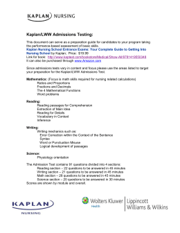 Information about the Kaplan Admissions Test