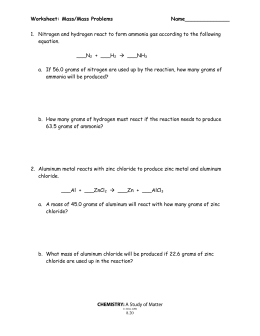 math worksheet : chemistry 151 final exam : Mass Mass Problems Worksheet