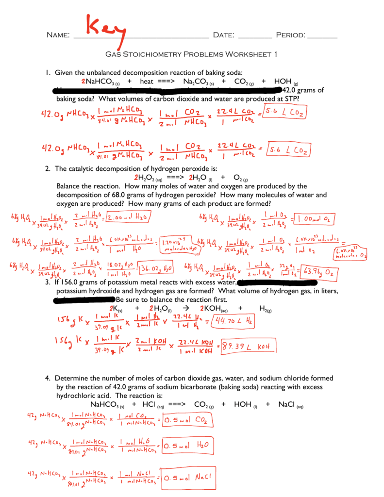 gas stoichiometry worksheet answer key - Gas Stoichiometry Worksheet