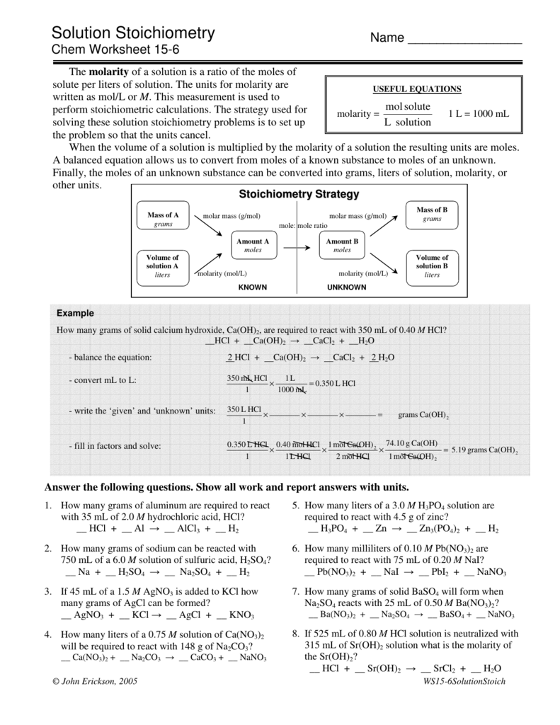 Solution Stoichiometry – Solution Stoichiometry Worksheet