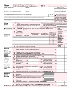 2012 Form 1040A - Pillsbury Tax Page