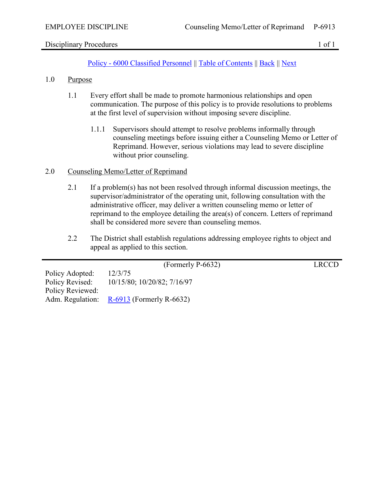 EMPLOYEE DISCIPLINE Counseling MemoLetter of Reprimand P