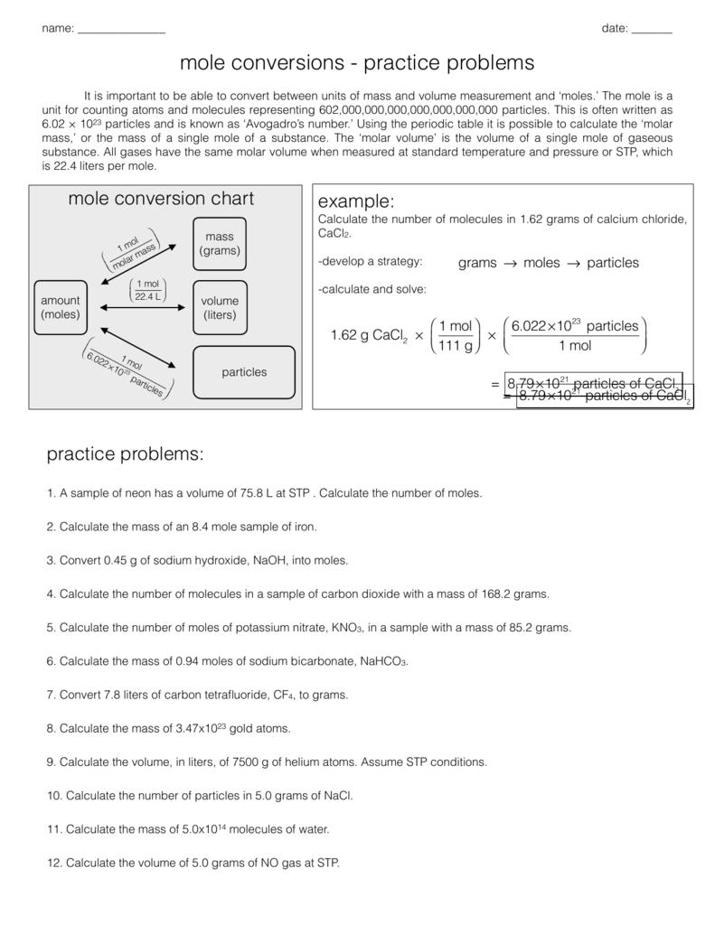 Mole Conversion Practice Problems