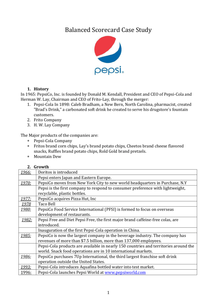 case study on pepsico This paper discusses pepsi that is one of the leading beverage brands globally with operations in nearly 200 hundred countries pepsi specializes in food and.