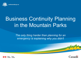 Business Continuity Planning in the Mountain Parks