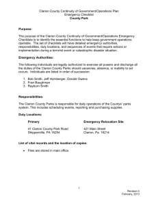 Clarion County Continuity of Government/Operations Plan