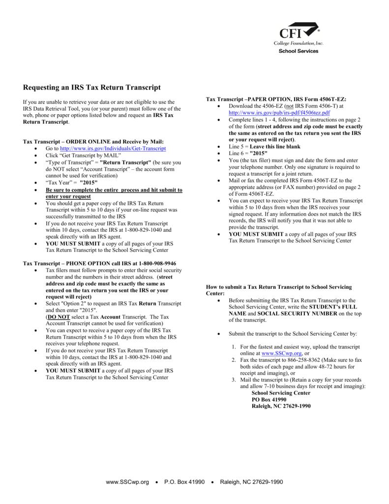 Requesting an IRS Tax Return Transcript