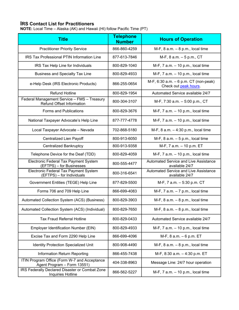 Irs Contact List For Practitioners Nevada Society Of Enrolled Agents