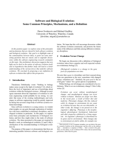 Software and Biological Evolution: Some Common Principles