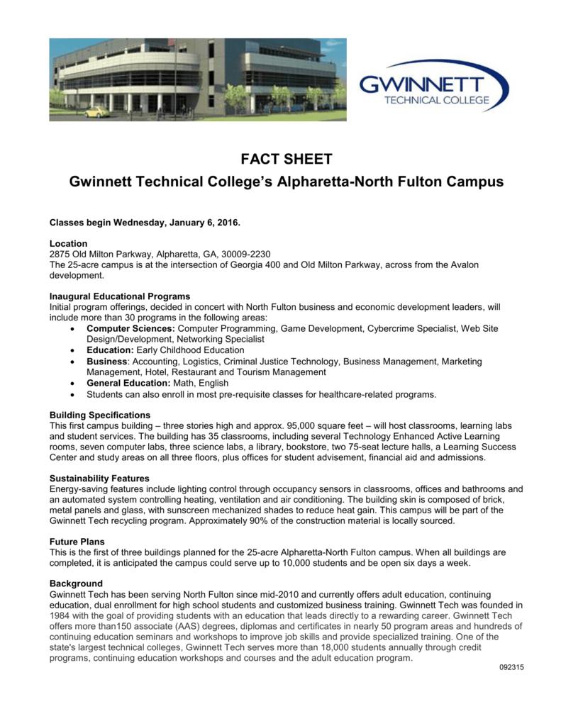 Fact Sheet Gwinnett Technical College S Alpharetta