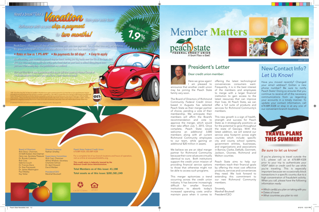 July 2015 Peach State Federal Credit Union