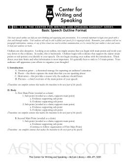 Basic Speech Outline Format