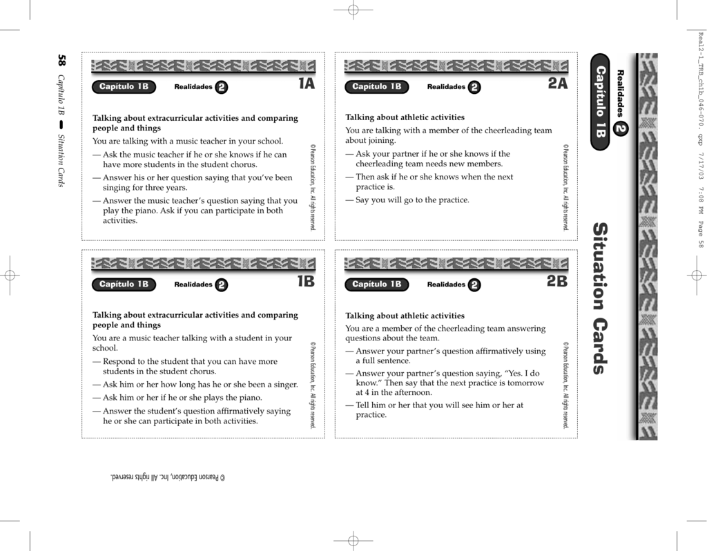 Workbooks practice workbook realidades 3 answers : Situation Cards