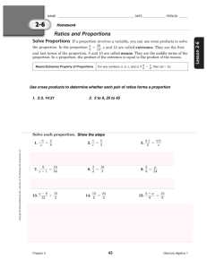 2-5 Ratios and Proportions Homework